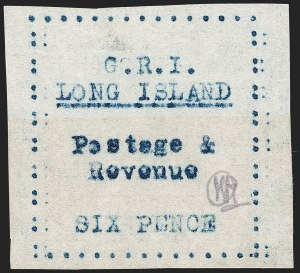 Sale Number 1194, Lot Number 2395, Long IslandLONG ISLAND, 1916, 6p Blue on Thin Wove Paper (SG 36), LONG ISLAND, 1916, 6p Blue on Thin Wove Paper (SG 36)