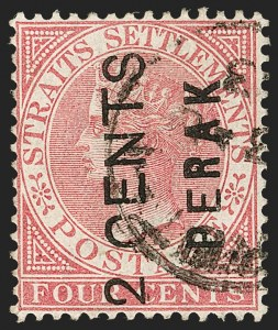 "Sale Number 1194, Lot Number 2409, Malayan StatesMALAYA, Perak, 1891, 2c on 4c Rose, Wide ""E"" (12a; SG 15), MALAYA, Perak, 1891, 2c on 4c Rose, Wide ""E"" (12a; SG 15)"