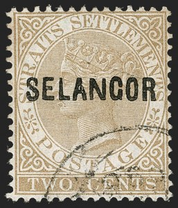 "Sale Number 1194, Lot Number 2415, Malayan StatesMALAYA, Selangor, 1881, 2c Brown, Wide ""N"" (5d; SG 4), MALAYA, Selangor, 1881, 2c Brown, Wide ""N"" (5d; SG 4)"