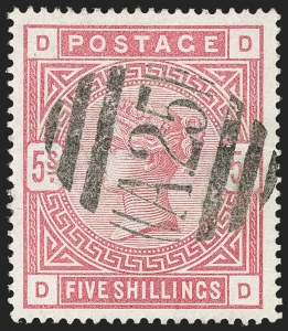 Sale Number 1194, Lot Number 2417, Malta thru MontserratMALTA, Great Britain, 1884, 5sh Carmine Rose used in Malta (A95; SG Z109), MALTA, Great Britain, 1884, 5sh Carmine Rose used in Malta (A95; SG Z109)