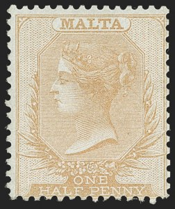 Sale Number 1194, Lot Number 2419, Malta thru MontserratMALTA, 1860, -1/2p Buff on Bluish Paper (2; SG 1), MALTA, 1860, -1/2p Buff on Bluish Paper (2; SG 1)