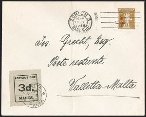 Sale Number 1194, Lot Number 2423, Malta thru MontserratMALTA, 1925, 3p Black on Gray, Postage Due (J6; SG D6), MALTA, 1925, 3p Black on Gray, Postage Due (J6; SG D6)