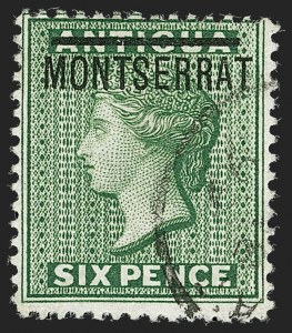 "Sale Number 1194, Lot Number 2426, Malta thru MontserratMONTSERRAT, 1876, 6p Green, ""S"" Inverted (2c; SG 2b), MONTSERRAT, 1876, 6p Green, ""S"" Inverted (2c; SG 2b)"