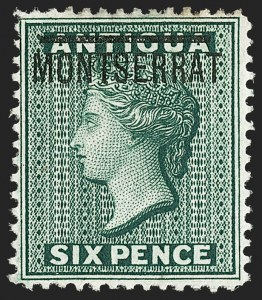 "Sale Number 1194, Lot Number 2427, Malta thru MontserratMONTSERRAT, 1876, 6p Blue Green, Inverted ""S"" (2e; SG 3a), MONTSERRAT, 1876, 6p Blue Green, Inverted ""S"" (2e; SG 3a)"