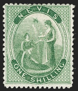 Sale Number 1194, Lot Number 2430, Nevis thru OmanNEVIS, 1876, 1sh Yellow Green, Crossed Lines on Hill (SG 14b), NEVIS, 1876, 1sh Yellow Green, Crossed Lines on Hill (SG 14b)