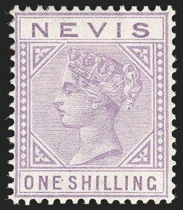 Sale Number 1194, Lot Number 2432, Nevis thru OmanNEVIS, 1890 1sh Violet, Top Left Triangle Detached (30 var; SG 34a), NEVIS, 1890 1sh Violet, Top Left Triangle Detached (30 var; SG 34a)