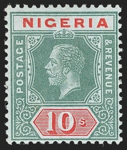 Sale Number 1194, Lot Number 2435, Nevis thru OmanNIGERIA, 1914, 10sh Green and Red on Blue Green, Olive Back (11b; SG 11b), NIGERIA, 1914, 10sh Green and Red on Blue Green, Olive Back (11b; SG 11b)