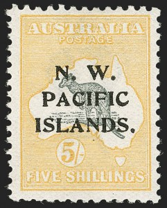 Sale Number 1194, Lot Number 2436, Nevis thru OmanNORTH WEST PACIFIC ISLANDS, 1916, 5sh Yellow & Gray (8; SG 83), NORTH WEST PACIFIC ISLANDS, 1916, 5sh Yellow & Gray (8; SG 83)