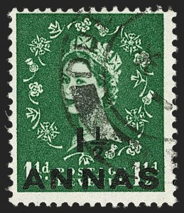 Sale Number 1194, Lot Number 2440, Nevis thru OmanOMAN, 1955, 1-1/2a on 1-1/2p Green, St. Edward's Crown Watermark (56A; SG 58a), OMAN, 1955, 1-1/2a on 1-1/2p Green, St. Edward's Crown Watermark (56A; SG 58a)