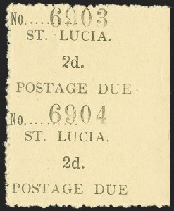 Sale Number 1194, Lot Number 2450, Penrhyn Islands thru South AfricaST. LUCIA, 1931, 2c Black on Yellow, Postage Due, Vertical Pair, Imperforate Between (J2b; SG D2a), ST. LUCIA, 1931, 2c Black on Yellow, Postage Due, Vertical Pair, Imperforate Between (J2b; SG D2a)
