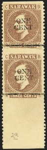 Sale Number 1194, Lot Number 2455, Penrhyn Islands thru South AfricaSARAWAK, 1892, 1c on 3c Brown on Yellow, Vertical Pair, Imperf Horizontally (25f; SG 27c), SARAWAK, 1892, 1c on 3c Brown on Yellow, Vertical Pair, Imperf Horizontally (25f; SG 27c)