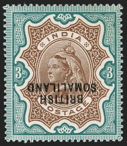 Sale Number 1194, Lot Number 2456, Penrhyn Islands thru South AfricaSOMALILAND PROTECTORATE, 1903, 3r Green & Brown, Double Inverted Overprint, One Albino (18a; SG 23a), SOMALILAND PROTECTORATE, 1903, 3r Green & Brown, Double Inverted Overprint, One Albino (18a; SG 23a)