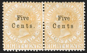 "Sale Number 1194, Lot Number 2458, Straits Settlements thru TobagoSTRAITS SETTLEMENTS, 1879, 5c on 8c Yellow, No Period After ""CENTS"" (20a; SG 20a), STRAITS SETTLEMENTS, 1879, 5c on 8c Yellow, No Period After ""CENTS"" (20a; SG 20a)"