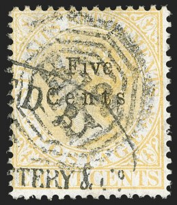 "Sale Number 1194, Lot Number 2459, Straits Settlements thru TobagoSTRAITS SETTLEMENTS, 1879, 5c on 8c Yellow, No Period After ""CENTS"" (20a; SG 20a), STRAITS SETTLEMENTS, 1879, 5c on 8c Yellow, No Period After ""CENTS"" (20a; SG 20a)"