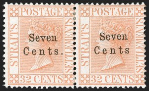 "Sale Number 1194, Lot Number 2460, Straits Settlements thru TobagoSTRAITS SETTLEMENTS, 1879, 7c on 32c Pale Red, No Period After ""CENTS"" (21a; SG 21a), STRAITS SETTLEMENTS, 1879, 7c on 32c Pale Red, No Period After ""CENTS"" (21a; SG 21a)"