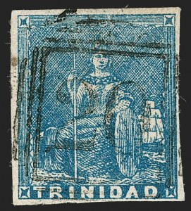 Sale Number 1194, Lot Number 2471, Trinidad thru Turks IslandsTRINIDAD, 1852, (1p) Blue, Fine Impression, First Issue (9; SG 13), TRINIDAD, 1852, (1p) Blue, Fine Impression, First Issue (9; SG 13)