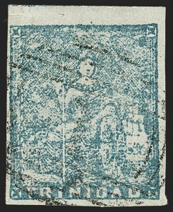 Sale Number 1194, Lot Number 2472, Trinidad thru Turks IslandsTRINIDAD, 1855, (1p) Pale Blue, Fourth Issue (11; SG 15), TRINIDAD, 1855, (1p) Pale Blue, Fourth Issue (11; SG 15)