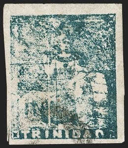Sale Number 1194, Lot Number 2474, Trinidad thru Turks IslandsTRINIDAD, 1860, (1p) Bluish Gray, Late Impression, Fifth Issue (12; SG 19), TRINIDAD, 1860, (1p) Bluish Gray, Late Impression, Fifth Issue (12; SG 19)