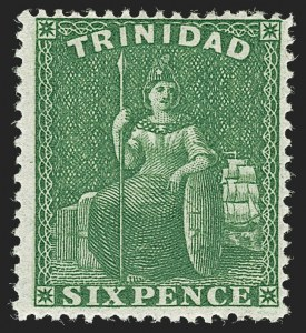Sale Number 1194, Lot Number 2477, Trinidad thru Turks IslandsTRINIDAD, 1860, 6p Green, Clean-Cut Perf 14-15-1/2 (30; SG 50), TRINIDAD, 1860, 6p Green, Clean-Cut Perf 14-15-1/2 (30; SG 50)
