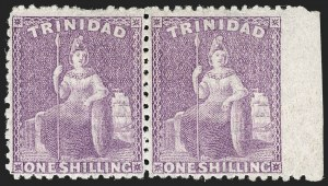 Sale Number 1194, Lot Number 2478, Trinidad thru Turks IslandsTRINIDAD, 1864, 1sh Purple, Imperforate at right margin (54 var; SG 73 var), TRINIDAD, 1864, 1sh Purple, Imperforate at right margin (54 var; SG 73 var)