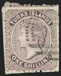Sale Number 1194, Lot Number 2480, Trinidad thru Turks IslandsTURKS ISLANDS, 1873, 1sh Violet (6; SG 6), TURKS ISLANDS, 1873, 1sh Violet (6; SG 6)