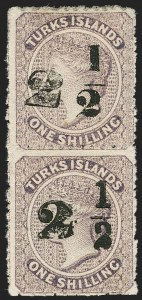 Sale Number 1194, Lot Number 2481, Trinidad thru Turks IslandsTURKS ISLANDS, 1881, 2-1/2p on 1sh Violet, Types l-o (31-32; SG 36-37), TURKS ISLANDS, 1881, 2-1/2p on 1sh Violet, Types l-o (31-32; SG 36-37)