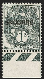 Sale Number 1194, Lot Number 2490, Andorra thru AustriaANDORRA (French), 1931, 1c Gray, Double Overprint (1a; Yvert 2a), ANDORRA (French), 1931, 1c Gray, Double Overprint (1a; Yvert 2a)