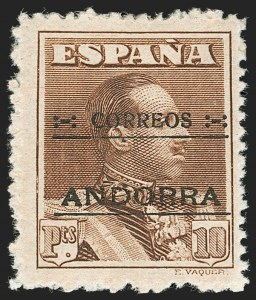 Sale Number 1194, Lot Number 2491, Andorra thru AustriaANDORRA (Spanish), 1928, 5c-10p Overprints, Specimen (A.000.000 Number on Back), ANDORRA (Spanish), 1928, 5c-10p Overprints, Specimen (A.000.000 Number on Back)