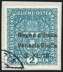 Sale Number 1194, Lot Number 2496, Andorra thru AustriaAUSTRIA, Italian Occupation, 1918, 2k Light Blue (N15; Sassone 15), AUSTRIA, Italian Occupation, 1918, 2k Light Blue (N15; Sassone 15)