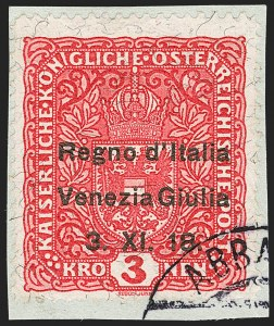 Sale Number 1194, Lot Number 2497, Andorra thru AustriaAUSTRIA, Italian Occupation, 1918, 3k Carmine Rose (N19; Sassone 16), AUSTRIA, Italian Occupation, 1918, 3k Carmine Rose (N19; Sassone 16)