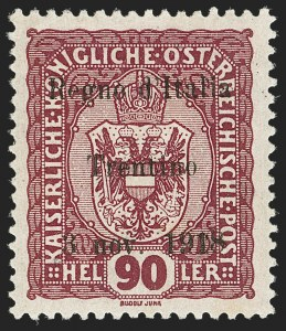 Sale Number 1194, Lot Number 2498, Andorra thru AustriaAUSTRIA, Italian Occupation, 1918 90h Red Violet, Trentino Overprint (N46; Sassone 14), AUSTRIA, Italian Occupation, 1918 90h Red Violet, Trentino Overprint (N46; Sassone 14)