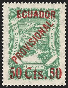 "Sale Number 1194, Lot Number 2506, Brazil thru EcuadorECUADOR, 1928, 50 ""Cts."" on 10c Green, Air Post (C6), ECUADOR, 1928, 50 ""Cts."" on 10c Green, Air Post (C6)"
