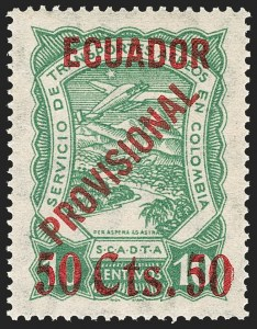 "Sale Number 1194, Lot Number 2507, Brazil thru EcuadorECUADOR, 1928, 50 ""Cts."" on 10c Green, Air Post (C6), ECUADOR, 1928, 50 ""Cts."" on 10c Green, Air Post (C6)"