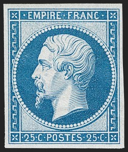 Sale Number 1194, Lot Number 2520, France & French ColoniesFRANCE, 1862, 25c Blue Re-Issue (17c; Yvert 15c), FRANCE, 1862, 25c Blue Re-Issue (17c; Yvert 15c)