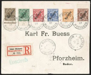 "Sale Number 1194, Lot Number 2570, Germany & German ColoniesMARIANA ISLANDS, 1900, 3pf-50pf ""Marianen"" Overprints (11-16; Michel 1II-6II), MARIANA ISLANDS, 1900, 3pf-50pf ""Marianen"" Overprints (11-16; Michel 1II-6II)"