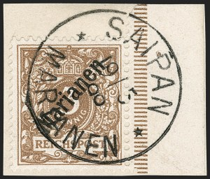 Sale Number 1194, Lot Number 2571, Germany & German ColoniesMARIANA ISLANDS, 1899, 3pf Light Brown, 48 Degree Overprint (11a; Michel 1I), MARIANA ISLANDS, 1899, 3pf Light Brown, 48 Degree Overprint (11a; Michel 1I)