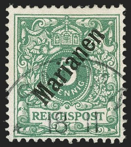 Sale Number 1194, Lot Number 2572, Germany & German ColoniesMARIANA ISLANDS, 1899, 5pf Green, 48 Degree Overprint (12a; Michel 2I), MARIANA ISLANDS, 1899, 5pf Green, 48 Degree Overprint (12a; Michel 2I)