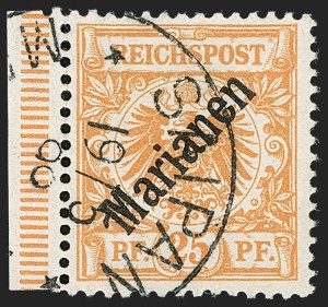 Sale Number 1194, Lot Number 2573, Germany & German ColoniesMARIANA ISLANDS, 1899, 25pf Orange, 48 Degree Overprint (15a; Michel 5I), MARIANA ISLANDS, 1899, 25pf Orange, 48 Degree Overprint (15a; Michel 5I)