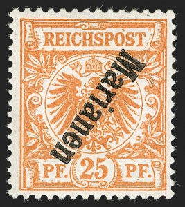 Sale Number 1194, Lot Number 2574, Germany & German ColoniesMARIANA ISLANDS, 1899, 25pf Orange, Inverted Overprint (15b; Michel 5bIIK), MARIANA ISLANDS, 1899, 25pf Orange, Inverted Overprint (15b; Michel 5bIIK)