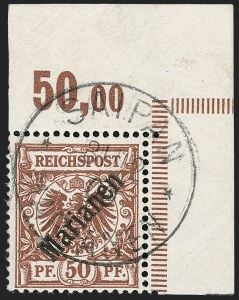 Sale Number 1194, Lot Number 2575, Germany & German ColoniesMARIANA ISLANDS, 1899, 50pf Red Brown, 48 Degree Overprint (16a; Michel 6I), MARIANA ISLANDS, 1899, 50pf Red Brown, 48 Degree Overprint (16a; Michel 6I)