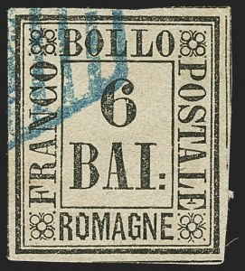 Sale Number 1194, Lot Number 2590, Italy & Italian ColoniesITALIAN STATES, Romagna, 1859, 6b Black on Yellow Green (7; Sassone 7), ITALIAN STATES, Romagna, 1859, 6b Black on Yellow Green (7; Sassone 7)