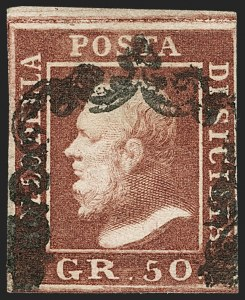 Sale Number 1194, Lot Number 2593, Italy & Italian ColoniesITALIAN STATES, Sicily, 1859, 50g Dark Red Brown (18; Sassone 14), ITALIAN STATES, Sicily, 1859, 50g Dark Red Brown (18; Sassone 14)