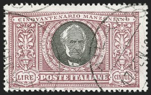 Sale Number 1194, Lot Number 2594, Italy & Italian ColoniesITALY, 1923, 5l Manzoni (170; Sassone 156), ITALY, 1923, 5l Manzoni (170; Sassone 156)