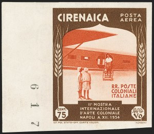 Sale Number 1194, Lot Number 2596, Italy & Italian ColoniesCYRENAICA, 1934, 75c Dark Brown and Orange Red, Air Post, Imperforate (C26a; Sassone A26a), CYRENAICA, 1934, 75c Dark Brown and Orange Red, Air Post, Imperforate (C26a; Sassone A26a)