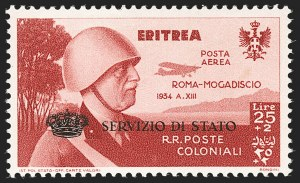 Sale Number 1194, Lot Number 2598, Italy & Italian ColoniesERITREA, 1934, 25l + 2l Copper Red, Air Post Semi-Official (CBO1; Sassone SA1), ERITREA, 1934, 25l + 2l Copper Red, Air Post Semi-Official (CBO1; Sassone SA1)