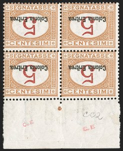 Sale Number 1194, Lot Number 2599, Italy & Italian ColoniesERITREA, 1920, 5c Buff & Magenta, Postage Due, Inverted Numeral and Overprint (J1bc; Sassone S14a), ERITREA, 1920, 5c Buff & Magenta, Postage Due, Inverted Numeral and Overprint (J1bc; Sassone S14a)