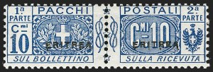 Sale Number 1194, Lot Number 2600, Italy & Italian ColoniesERITREA, 1916, 10c Deep Blue, Parcel Post (Q2; Sassone PP2), ERITREA, 1916, 10c Deep Blue, Parcel Post (Q2; Sassone PP2)