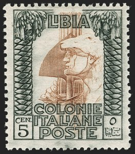 Sale Number 1194, Lot Number 2602, Italy & Italian ColoniesLIBYA, 1921, 5c Black & Red Brown, Error of Color (22a; Sassone 23A), LIBYA, 1921, 5c Black & Red Brown, Error of Color (22a; Sassone 23A)
