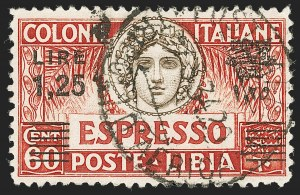 Sale Number 1194, Lot Number 2606, Italy & Italian ColoniesLIBYA, 1926, 1.25l on 60c, Special Delivery, Black Surcharge (E11b; Sassone E11), LIBYA, 1926, 1.25l on 60c, Special Delivery, Black Surcharge (E11b; Sassone E11)