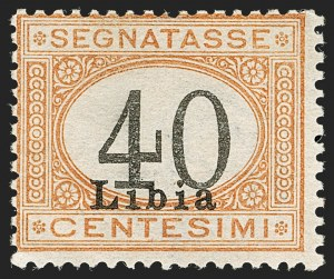 "Sale Number 1194, Lot Number 2608, Italy & Italian ColoniesLIBYA, 1915, 40c Buff & Black, ""40"" in Black (J5a; Sassone S11A), LIBYA, 1915, 40c Buff & Black, ""40"" in Black (J5a; Sassone S11A)"